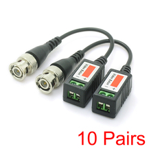 10x UTP Passive Video Balun Cat5 BNC Male Cable Twisted Pair Transmitter CCTV(Hong Kong)