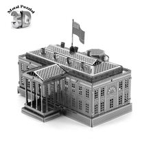 3D Metal Puzzles Miniature Model DIY Jigsaws Building Model Silver World-famous Buildings Intelligence Toys White House