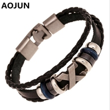 AOJUN 19 Models Friendship Bracelet Male 2017 Vintage Leather Bracelet Men Charm Jewelry For Women Femme Drop shipping DK020(China)
