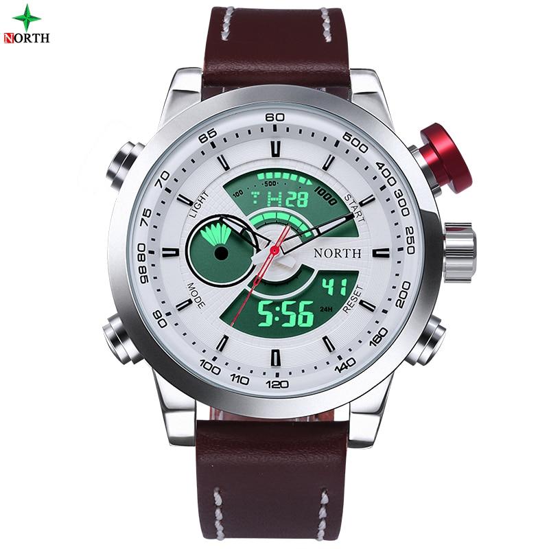 NORTH 30M Waterproof LED Digital Male Watches 2017 Genuine Leather Alarm Calendar Fashion Casual Quartz Men Sport Wristwatch<br><br>Aliexpress