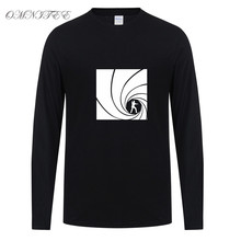 New fashion Brand Quality Movie Film 007 James Bond Print T Shirts Cotton Long Sleeve Round Neck T-shirts Casual Loose Tee