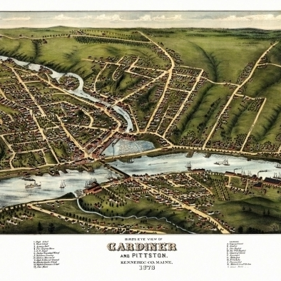 Antique Map of Gardiner Maine 1878 Kennebec County Poster Print (36 x 54)