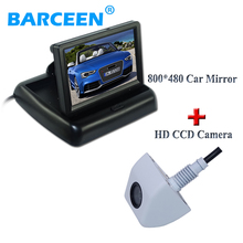 4.3 inch HD Rear View Mirror Monitor 800*480+170 Angle Backup Reverse Car Rear Camera and Reverse Camera Kit , Free Shipping(China)