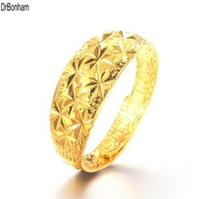 2017 NEW design 24K Gold star rings for Women Gold Color Dubai Bride Wedding Ethiopian  Africa alliance Jewelry wholesale
