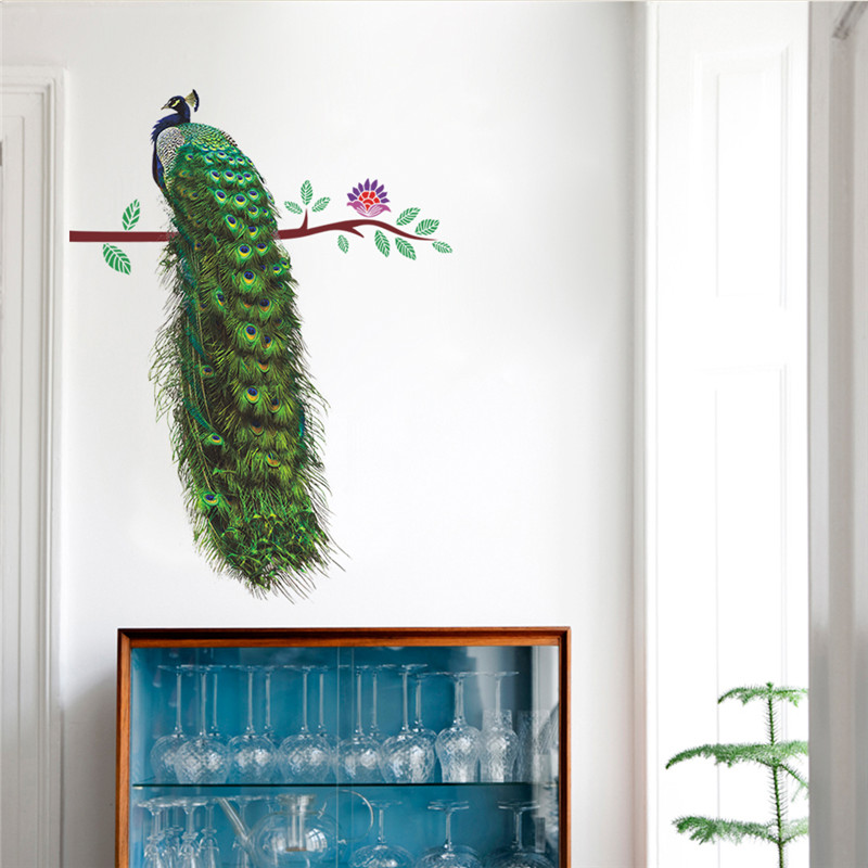 HTB1OUjqSFXXXXbKXpXXq6xXFXXXZ - % Animals Peacock On Branch Feathers Wall Stickers 3d Vivid Wall Decals Home Decor Art Decal Poster Animals Living Room Decor