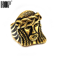 HIP Hop Rock Gold Color Titanium Stainless Steel Bling Cross Jesus Piece Rings for Men Jewelry(China)