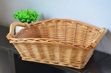 KINGART Wicker Neatening Fruit Basket Handmade Storage Food Bread Box Willow Bread Bins Woven Straw Tray With Wood Color(China)