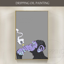 6 Colors Options Artist Hand-painted High Quality Funny Gorilla Smoking Oil Painting for Living Room Abstract Monkey Painting