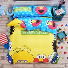 sesame street monkey cartoon style yellow bedding sets 100% cotton linens Queen Size 4pcs duvet cover+bedsheet+pillowcase