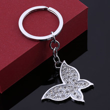 High Quality Rhinestone Butterfly Jewelry Keychain Women Key Holder Chain Ring Car Chaveiros Llaveros Bag Pendant Charm Keyring
