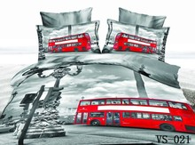 Red Bus Running on the Street Print 7-Piece 100% Satin Cotton 3D Duvet Cover Sets Bed sheets Pillowcases Queen Super king size