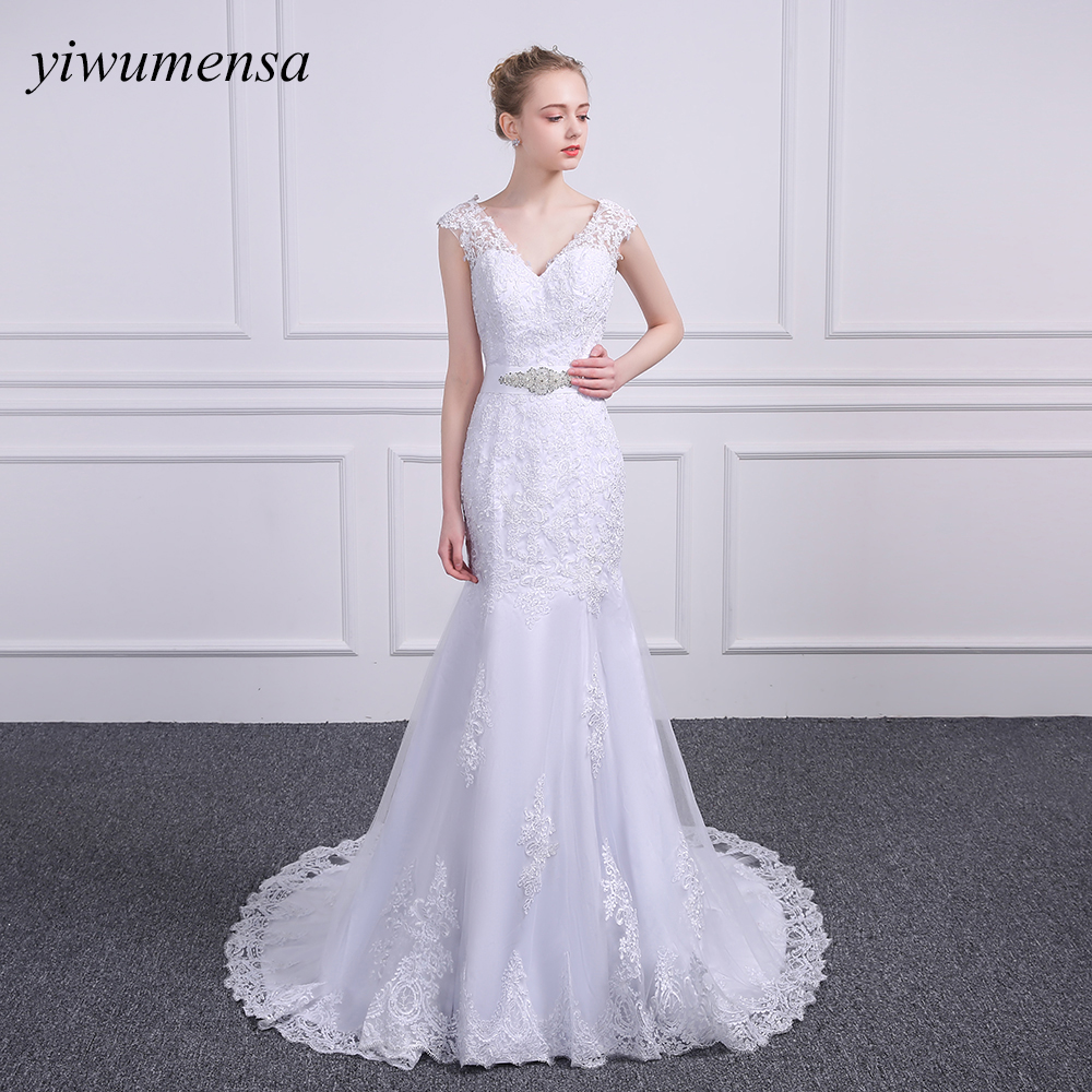yiwumensa vestido de casamento Mermaid wedding dresses 2018 Sexy V neck Bridal gowns Removed Beading sashes wedding dress