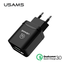 Quick Travel Charge Qualcomm 3.0 Fast USB Phone Charger USAMS 18W EU for iPhone Samsung Compatible 2.0 Quick Normal Wall Charger(China)