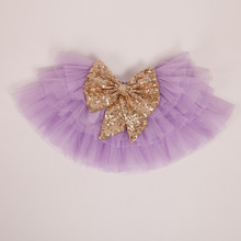 EMS DHL Free Shipping Princess tutus Skirt Bow Sequin Sparkle flower prom Tiers Skirt Kids Children's Wear 5 Colors