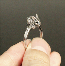 Size 7-11 Cool Silver Mini Rabbit Ring 316L Stainless Steel Women Animal Rabbit Ring