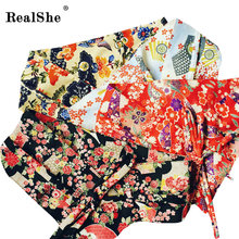 RealShe Fabric Printed Flower OBI Belt Japanese Geisha Kimono Sash Tie Ribbon Custom Vintage Waistband Strap Women Accessories(China)