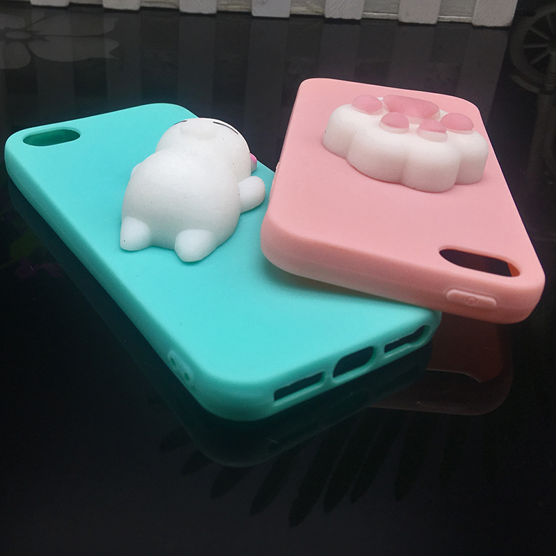 Cute 3d Squishy Cat Silicon TPU Soft Cases For iphone 5 5S SE 6 6s plus Candy Color Back Cover 5 S 7 7plus 8 8plus X phone cases (2)