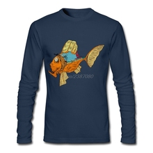 For Sale Men's Monster Fish Trendy T Shirts Long Sleeve High Quality Clothes Men's O-Neck Clothing