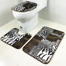 3pcs/set Cheap Floral Leopard Pattern Bath Mats Set Non Slip Bathroom Toilet Rugs Close stool Seat Cover Bath Mat Carpet