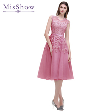 In Stock Dust Pink Beaded Lace Appliques Short Prom Dresses 2017 vestido de festa Knee Length Party gala dress Evening Dress