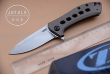 JUFULE custom ZT0801 BRZ ball bearing Folding D2 Blade Titanium handle Camping Hunting Survival Kitchen Outdoors EDC Tools Knife