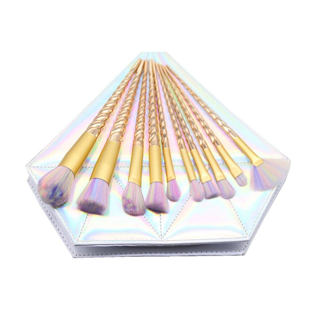 10 Pcs Diamond Rose Gold Makeup Brush Set Unicorn Spiral Handle Foundation Powder Cosmetic Brushes Set Kits Tools  <br>