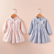 2017 New Spring Autumn Kids Cotton European Style Cheap Clothes Pink Blue Striped Baby Dress Long Sleeve Girl Infant Clothing(China)