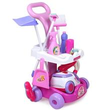 New Arrival Girls play house toys Simulation children cleaning trolley with vacuum cleaner tool hygiene with gift(China)
