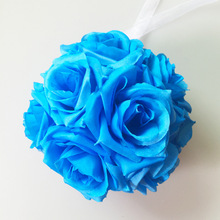 15cm/6in Artificial Rose Flower Ball Silk Ribbon Romantic Wedding Bouquet Kissing Pompom Wedding Centerpiece Table Decorations(China)