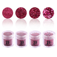 4Pcs/Set 3D Rose Red Nail Art Glitter Tools Acrylic UV Powder Dust Polish Gel Polish Nail Art DIY Decoration BG093-1