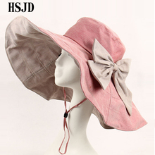 Cotton Large Wide Brim Sun Hat Bowknot Double-sided Foldable Beach Hats For Women Breathable Anti-UV Fashion Lady's Summer Hat(China)