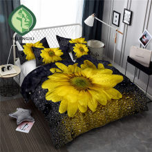 HELENGILI 3D Bedding Set Sunflower Print Duvet cover set bedclothes with pillowcase bed set home Textiles #XH-35(China)