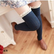 Elgant Women Girls Comfortable Cotton High Tight Knitted Over Knee Lace Sexy Autumn Winter Warm tights Spring New Arrival(China)