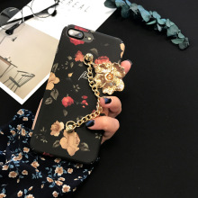 SZYHOME Phone Cases Chinese Camellia Painting for IPhone 6 6s 7 Plus Case Chain for IPhone7 Plus Frosted Mobile Phone Cover Capa(China)