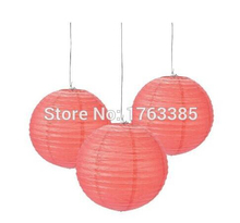 Pack of 12 Mixed Sizes Coral Round Paper Lantern Lamp shade for Wedding Birthday Christening Baby Shower Party Hanging Decoratio
