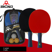 New 2 Pieces/Set Long handle or short handle Table Tennis Rackets Ping Pong Paddle  Table Tennis Racket Set With 3 Balls in bag
