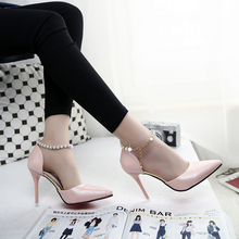 koovan women sandals 2017 New Pointed High-heeled Shoes Pink Pearls Wild Night clubs Single Buckle Women's Ladies Summer Pumps