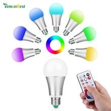 LemonBest E27 RGBW LED Bulb 10W 85-265V 110V 220V RGB Led Lamp 120 Colors Remote Controller DIY / Timing / Controller & Memory