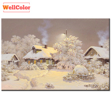 WELLCOLOR Patterns Rhinestones winter snow house 5d Diy Diamond Painting mosaic sets Diamond Embroidery 3D cube Mazayka nature(China)