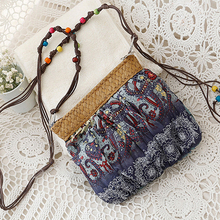 2016 New Arrival Women's Bohemian Ethnic Print Cross Body Bag Lady Beach Bag Purse with Beads