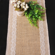 1PC Burlap Hessian With Lace Band Crochet Table Runner Wedding Party Home Hotel Table Decoration Tablecloths Sale Table Lines