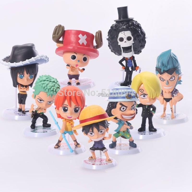 Anime One Piece Luffy Sanji Brook Nami Frank Usopp Robin Chopper Zoro Q Version PVC Action Figures Toys Dolls 9pcs/set OPFG280<br><br>Aliexpress