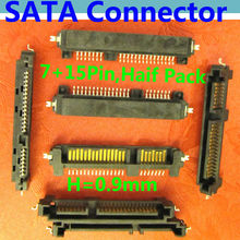 SATA Connector / Plug ,Offset type Male Half Pack style Adapter , SSD/HDD Connector, SMT,Locating Peg,H=0.9mm , 7pin + 15pin