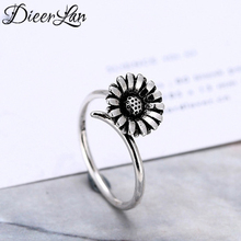 Vintage 925 Sterling Silver Sunflower Rings for Women Adjustable Size Ring Fashion sterling-silver-jewelry(China)