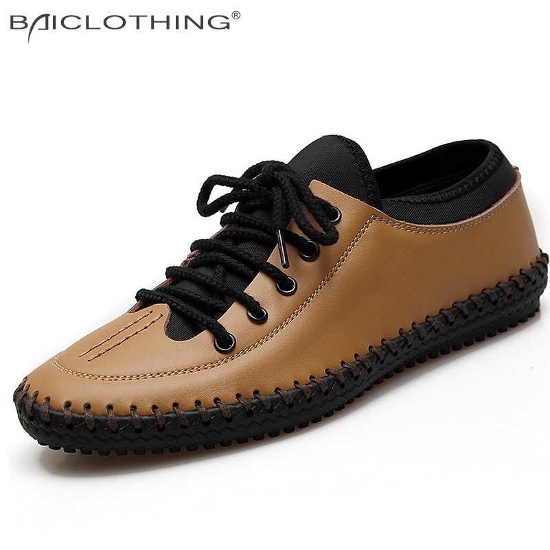 Discounts Genuine Leather Handmade Men Shoes 2016 Spring Autumn Breathable Lace-up Flat Shoes Outdoor Casual Platform Men Shoes<br><br>Aliexpress