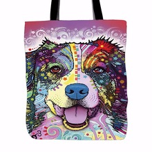 Cute Australian Shepherd Tote Bags Light Color Double Sided Printing Canvas Animals Tote Bag Art Dog Shopping Handle Bags