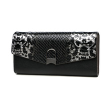 Vintage Womens Serpentine Genuine Leather Leopard Long Wallet Lock Day Clutches Phone Card Holder Wristlet Purse Hand Clutch Bag(China)