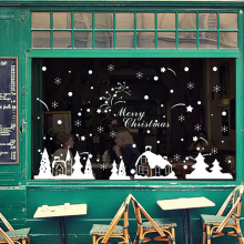 9 Pattern DIY PVC Removable Shop Window Display Glass Wall Stickers Christmas Tree Santa Claus Snowflake Decor Home Mural Decal