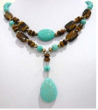 Lovely! 2Strds Brown Pearl &Blue Turkey stone&Tiger's Eye Necklace Factory Wholesale price  Gift word  for women jewelry
