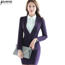Autumn winter work wear Skirt suit set women long sleeve slim formal blazer with skirt OL office ladies plus size suits uniform